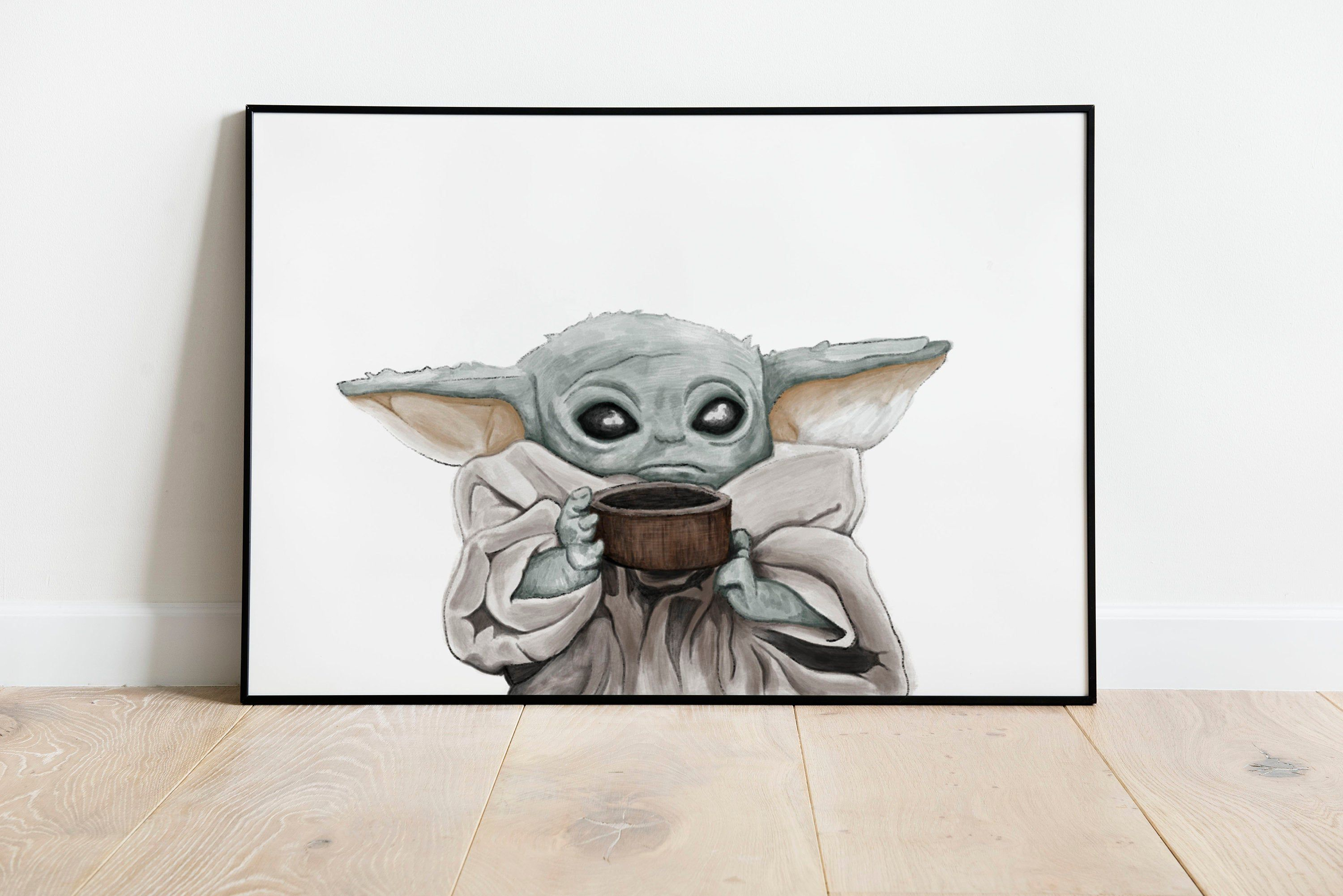 Excited To Share This Item From My Etsy Shop Baby Yoda A3 A4 Print The Mandalorian Mando Star Wars Coffee Wall Art Poster Wate Poster Wall Art Art Poster Art