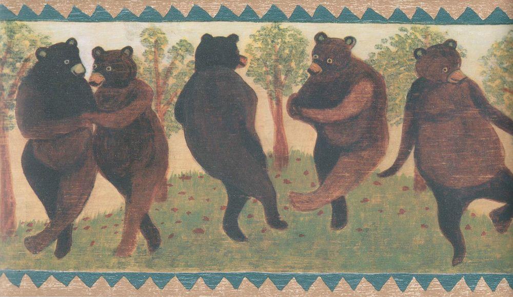 """PRIMITIVE COUNTRY """"DANCING BEARS"""" WALLPAPER BORDER Bear"""