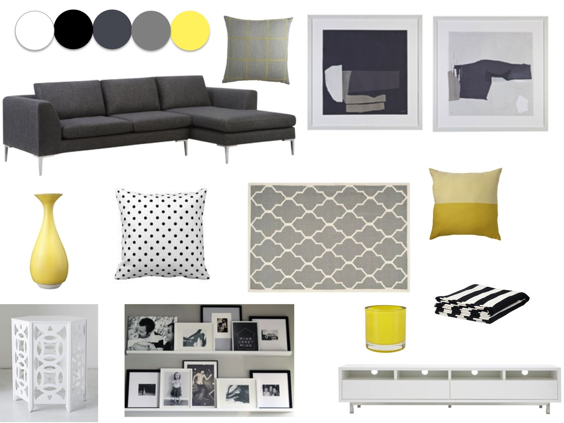 Grey, yellow, white and black living room