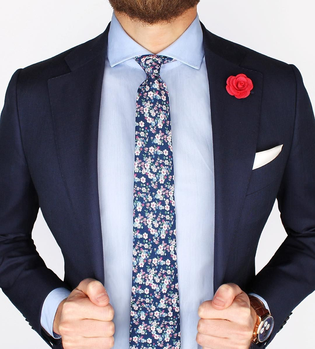 The new Admiral floral tie, Pink microfiber lapel pin and ...