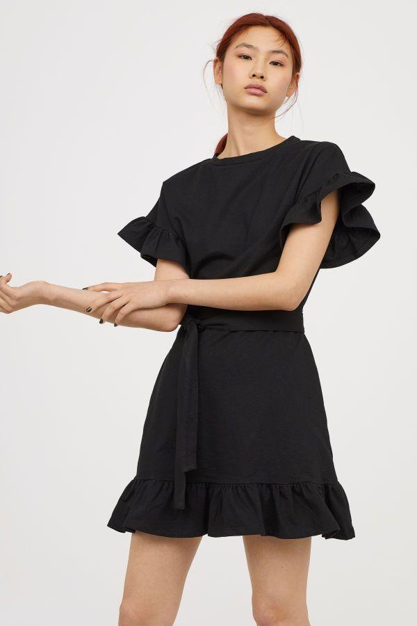 Jerseykleid mit Volants | Schwarz | Damen | H&M DE | Mode — Frühling ...