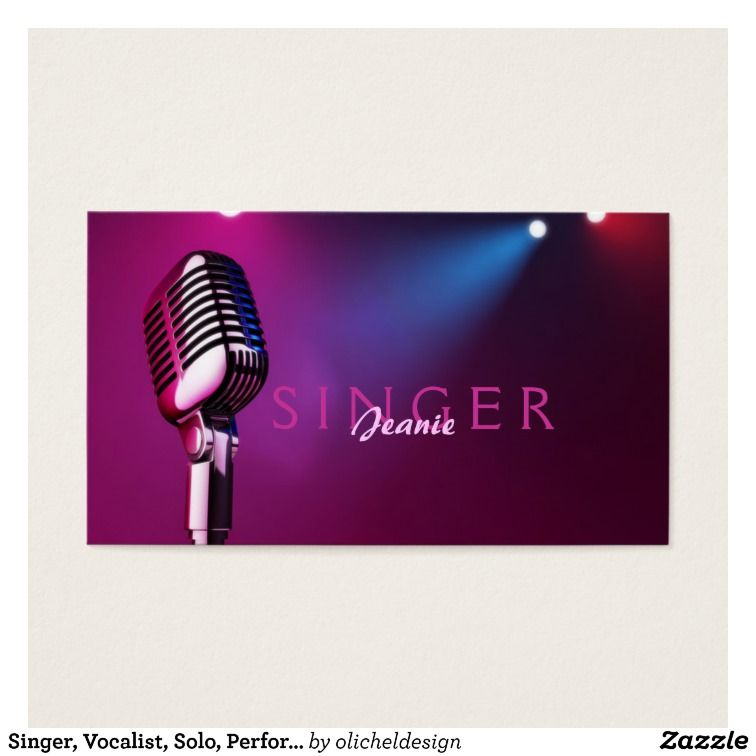 Singer, Vocalist, Solo, Performance Entertainment Business Card ...