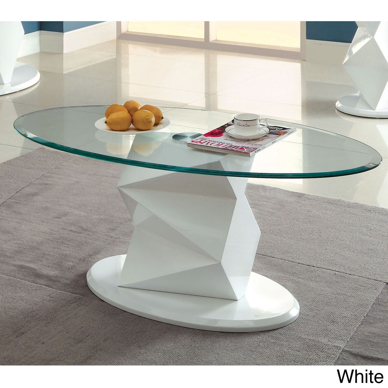 Furniture Of America Halawa Coffee Table Halawa Coffee TableContemporary  Style Pedestal TableHigh Gloss Lacquer Tempered Glass Top