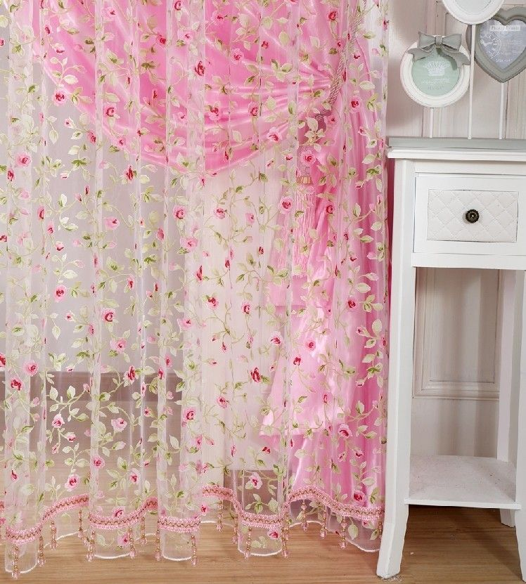 Free Shippin Leave Design Sheer Curtain Fabric Home