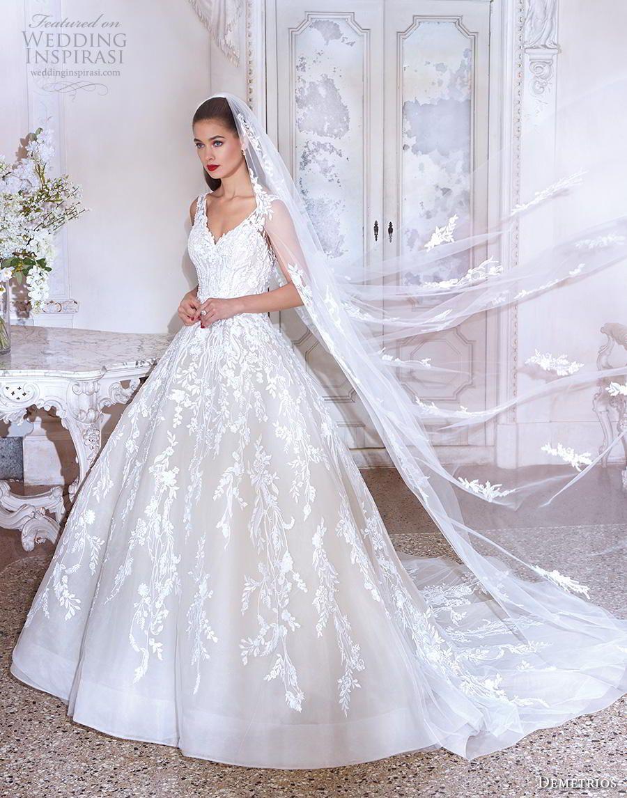 61453b77dfb demetrios 2019 bridal sleeveless v neck full embellishment princess ball  gown a line wedding dress backless