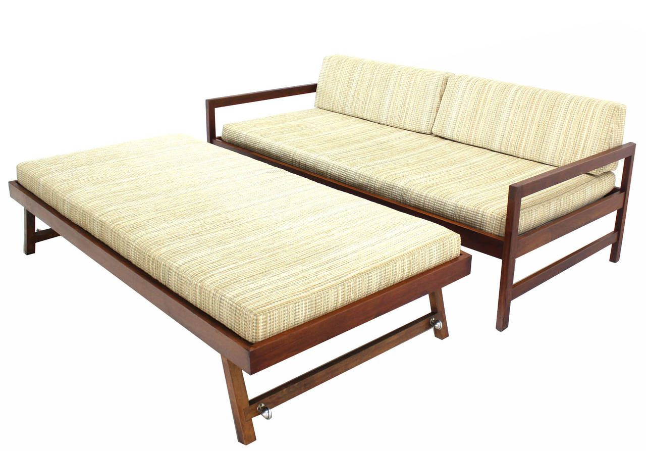 Solid walnut frame midcentury modern trundle pullout daybed