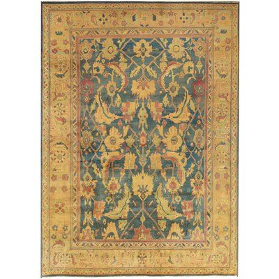 Mansour One Of A Kind Agra Quality Hand Knotted Wool Light Yellow Aqua Indoor Area Rug Rugs Agra Rug Traditional Handmade Rugs