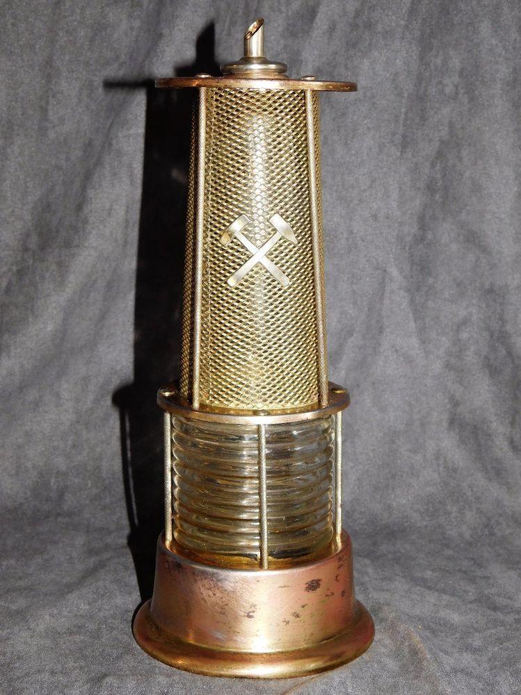 ANCIENNE BOUTEILLE AVEC HABILLAGE METAL LAMPE DE MINEUR DECO RETRO