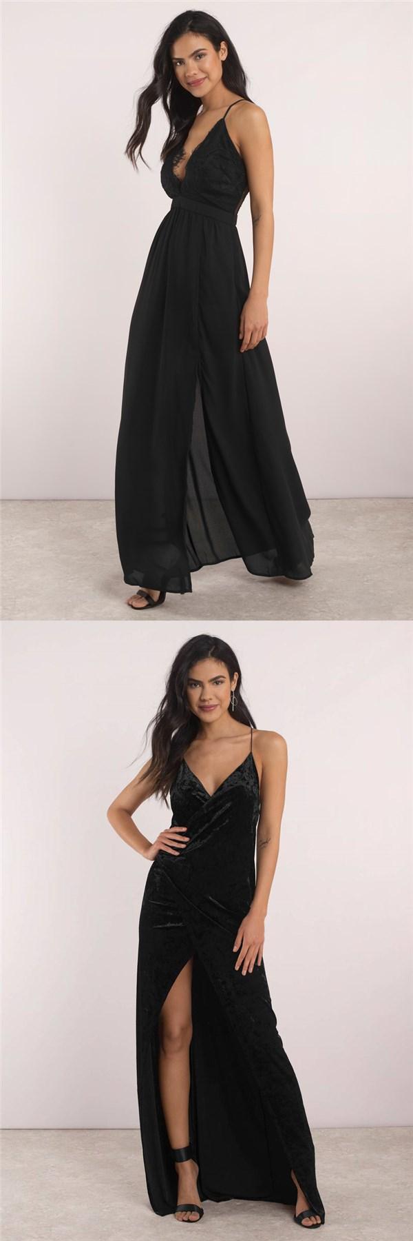sexy side slit prom dress simple cheap custom spaghetti straps