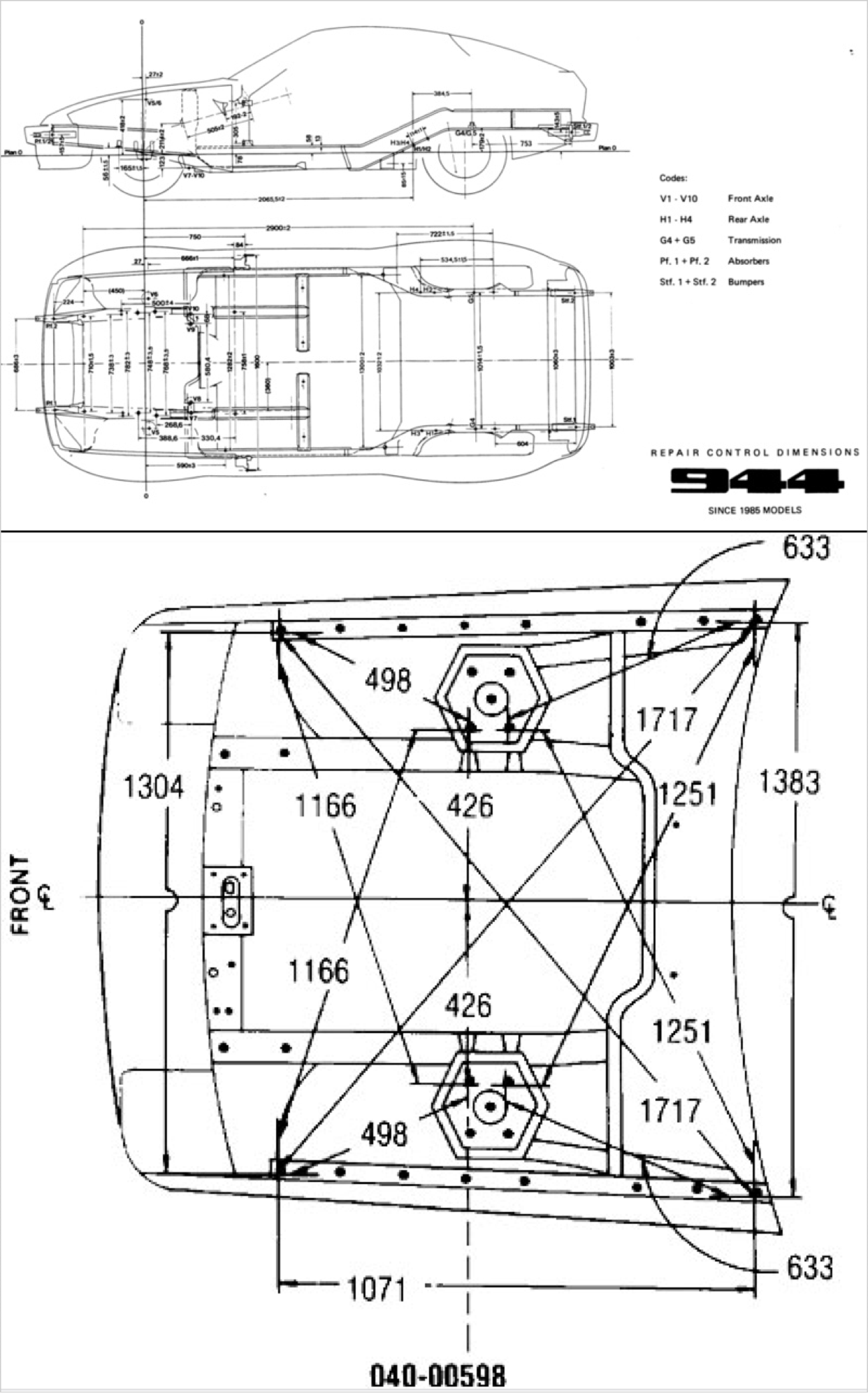 Porsche 944 Repair Control Dimensions Front Detail With Images