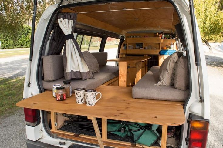 Photo of Wooden folding table at the back of the mini bus