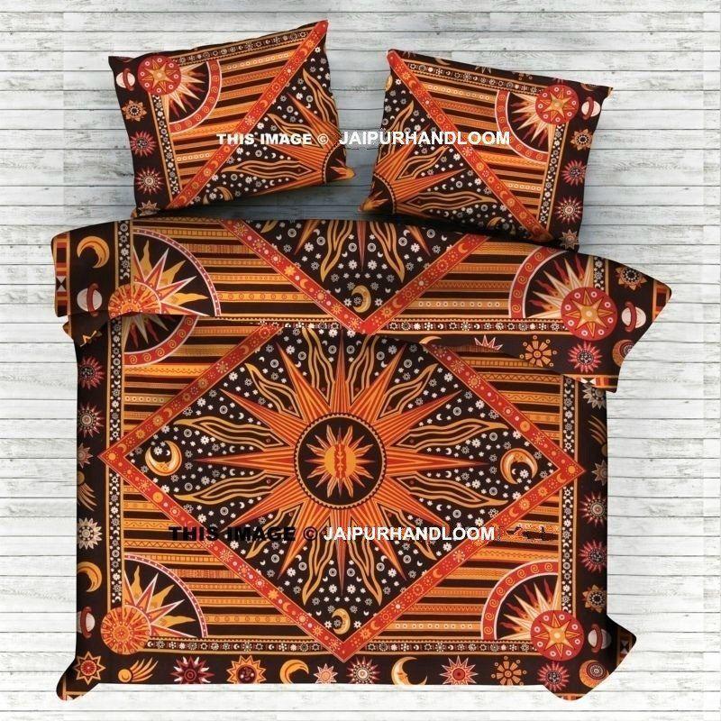 Sun Moon Hippie Bedspread With Matching Pillow Large Cotton Bedding Set Bohemian Comforter Mandala Duvet Cover Hippie Mandala Tapestry