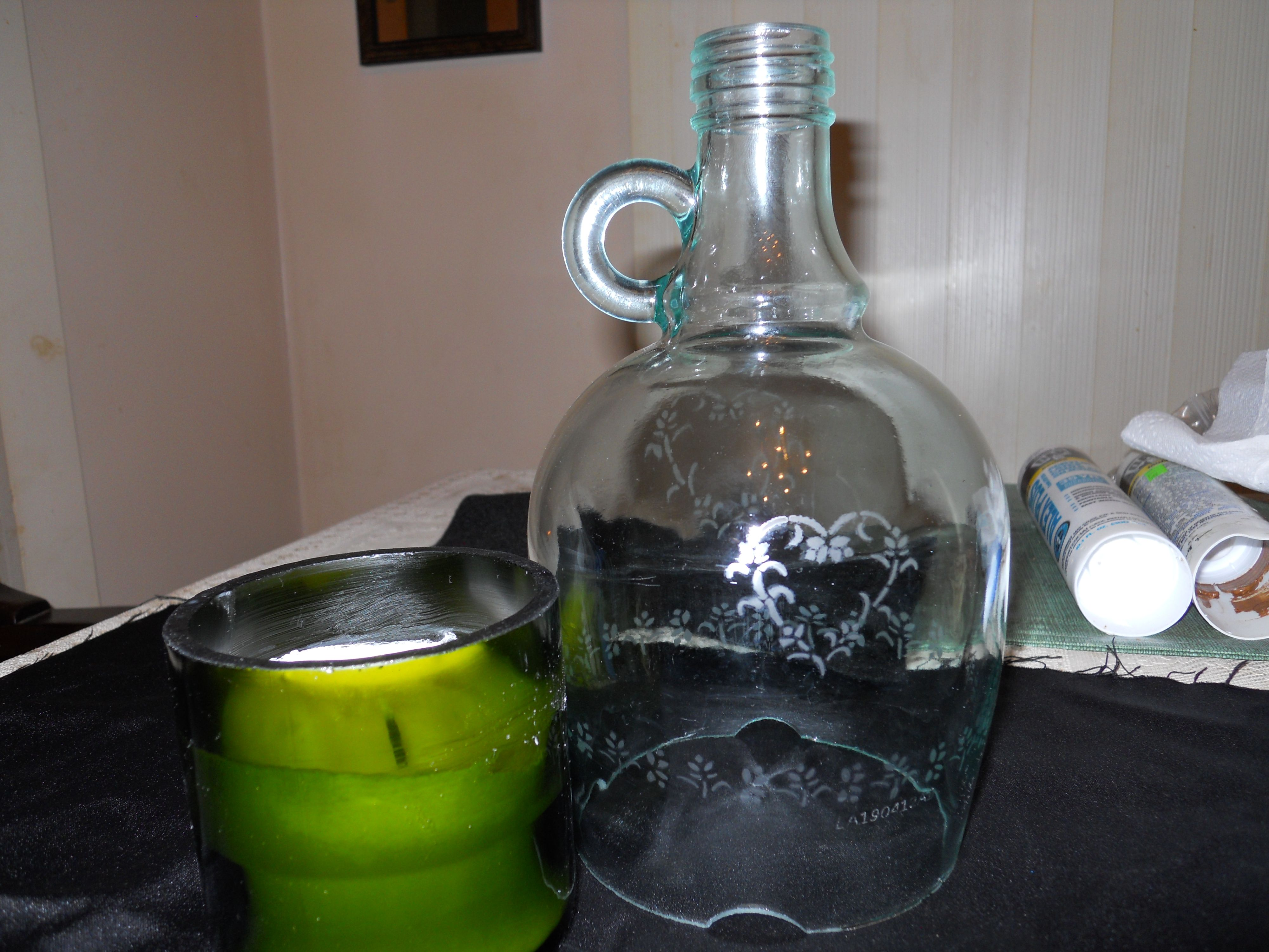 Half Gallon Hurricane Lamp Stenciled etch in glass and repurposed wine bottle candle, soy no scent or dye. For more information thomas.johnson@yahoo.com