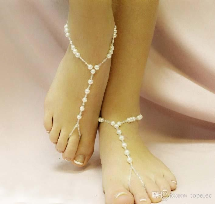 f427ce1d021 New Arrival Sexy Lady Women Beach Imitation Pearl Barefoot Sandal Foot  Jewelry Anklet Chain  71319 From Topelec