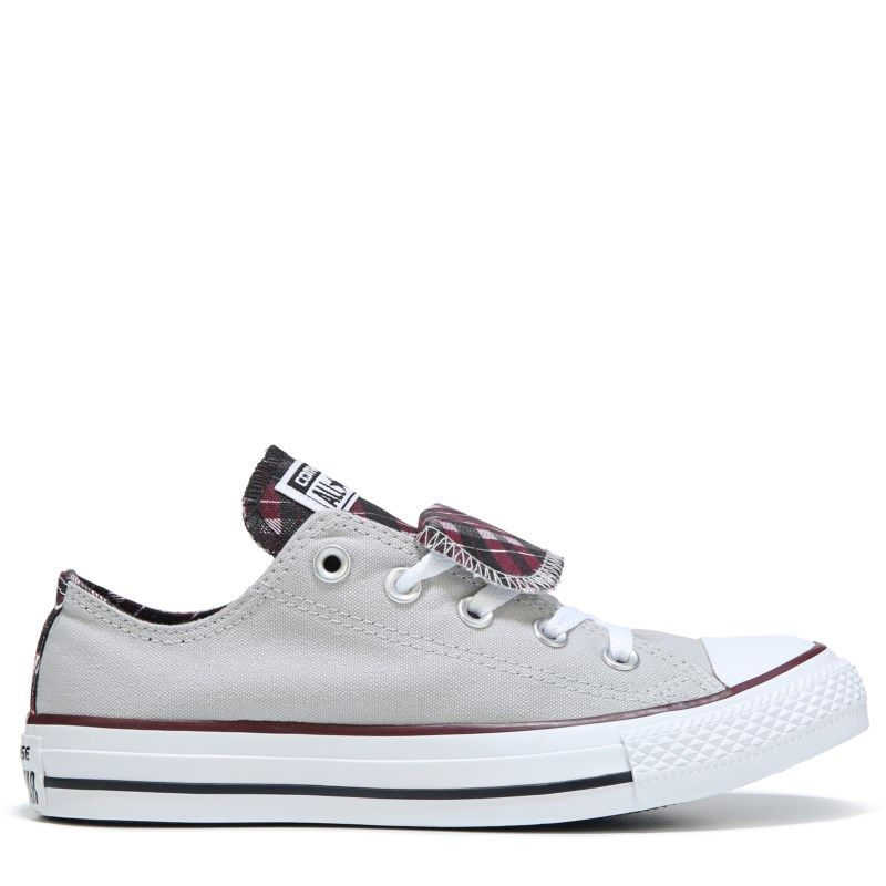6194a2f8c06d Converse Women s Chuck Taylor All Star Double Tongue Low Top Sneakers  (Grey Burgundy Plaid)