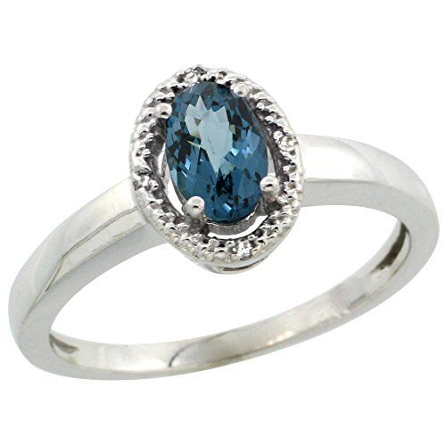 10K White Gold Diamond Halo Natural London Blue Topaz Ring Oval 6X4 mm 38 inch wide size 10 *** Check this out by going to the link at the image.