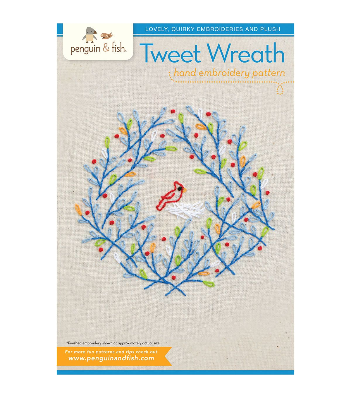 Penguin u fish embroidery patternstweet wreath penguins wreaths