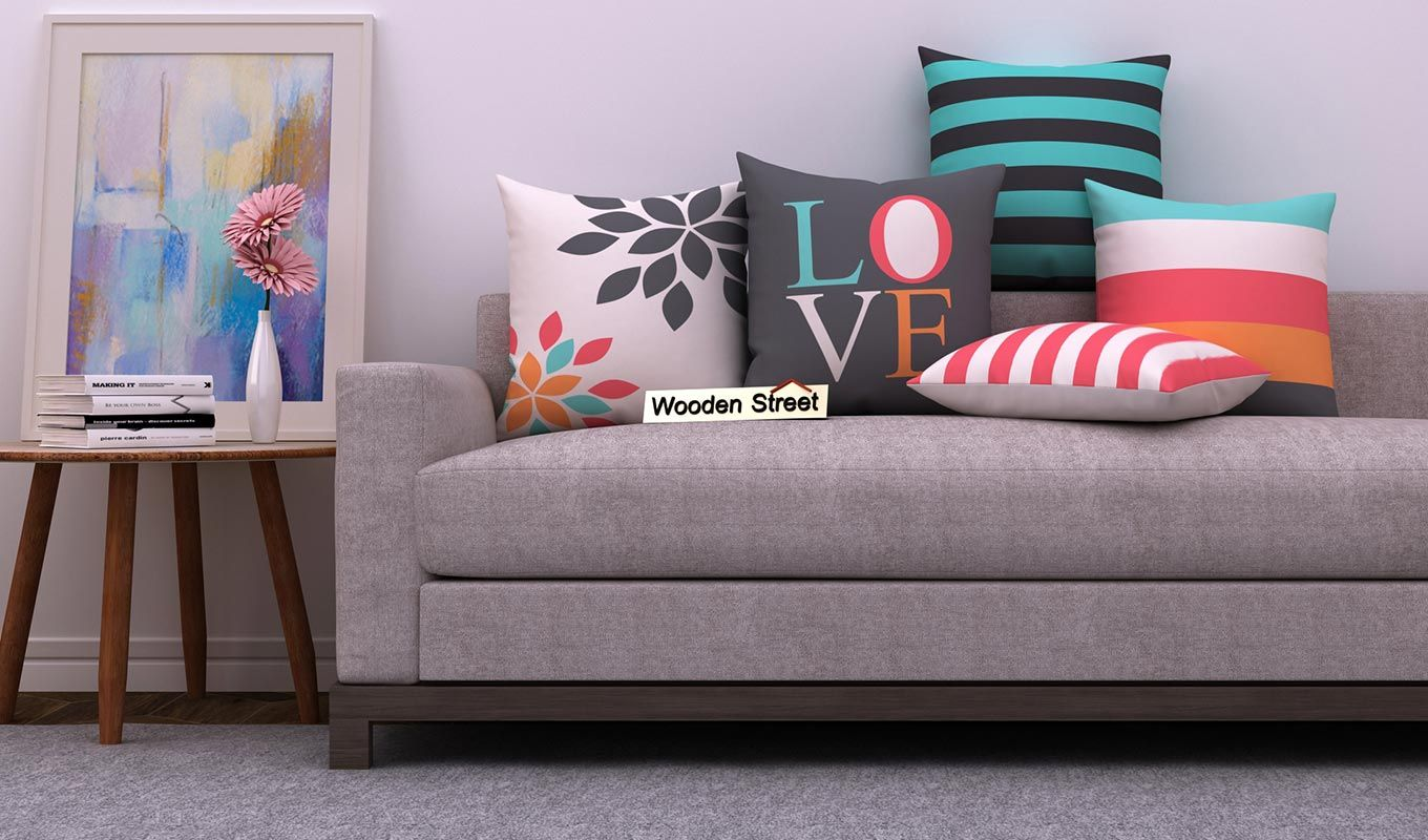 Beautiful Designs Of Cushioncoversonline Available In India At Wooden Street Enhance The Beauty Of With Images Cushions On Sofa Cushion Cover Designs Sofa Cushion Covers