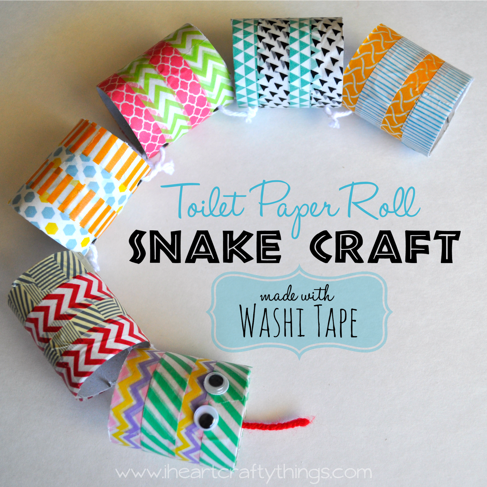 Toilet paper roll snake craft made with washi tape snake crafts toilet paper roll snake craft made with washi tape via iheartcraftythings jeuxipadfo Images