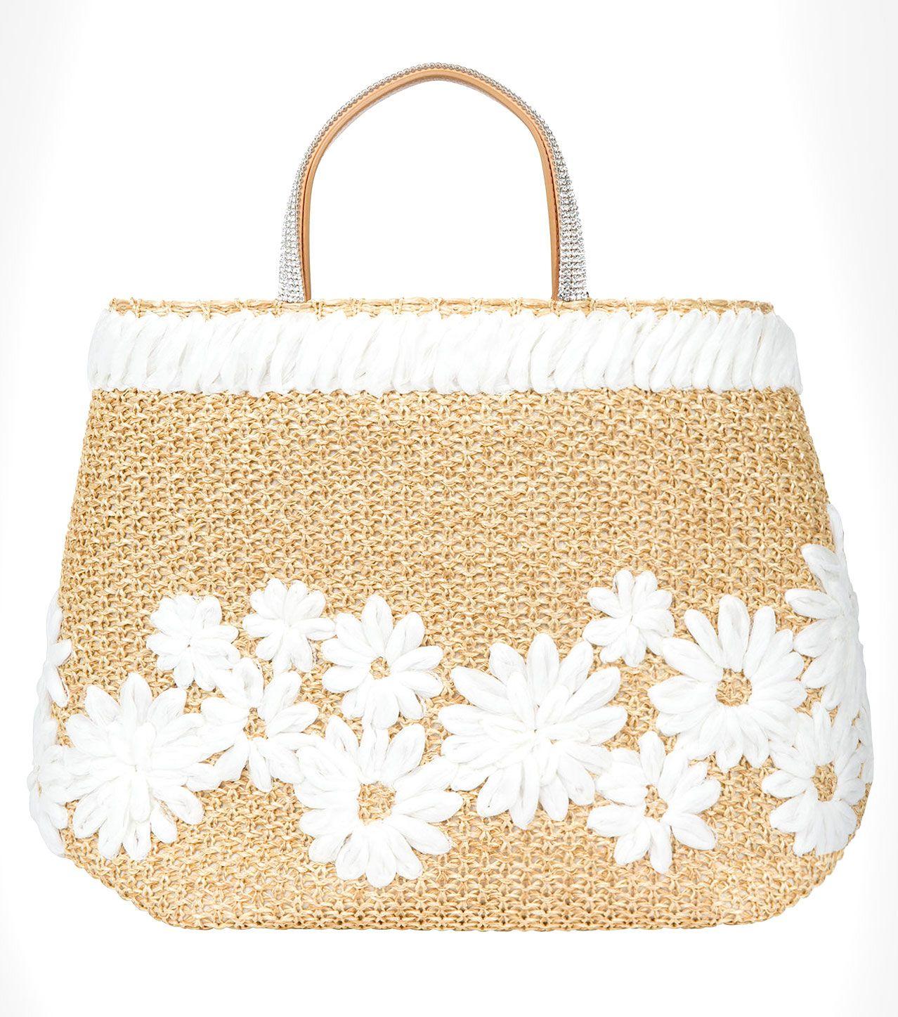 Ermanno Scervino Spring 2016 raffia basket bag with embellished handle.