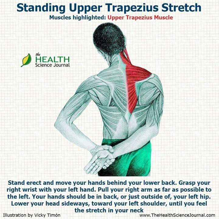 Standing Upper Trapezius Stretch Back Pain Pinterest Stretches