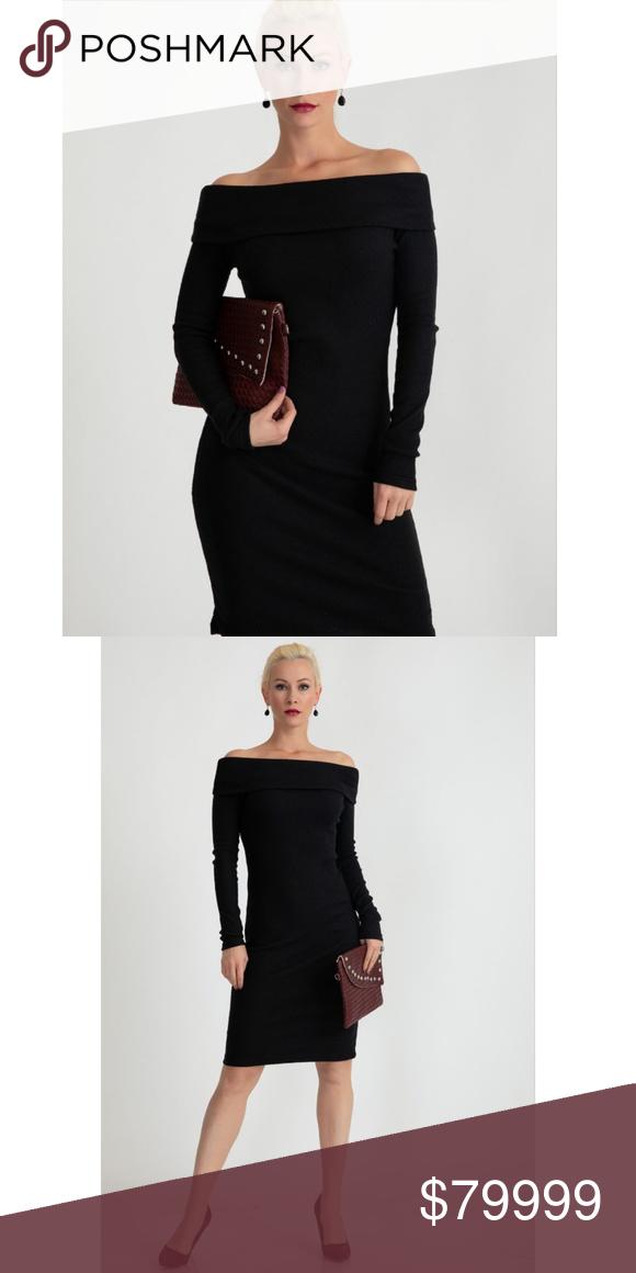 Black Off The Shoulder Sweater Dress Boutique My Posh Picks