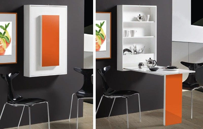 Mesa abatible de pared con estantes pinteres for Mesa abatible pared cocina