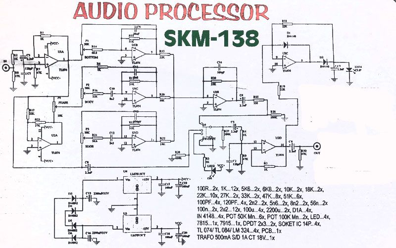 audio processor circuit tl074