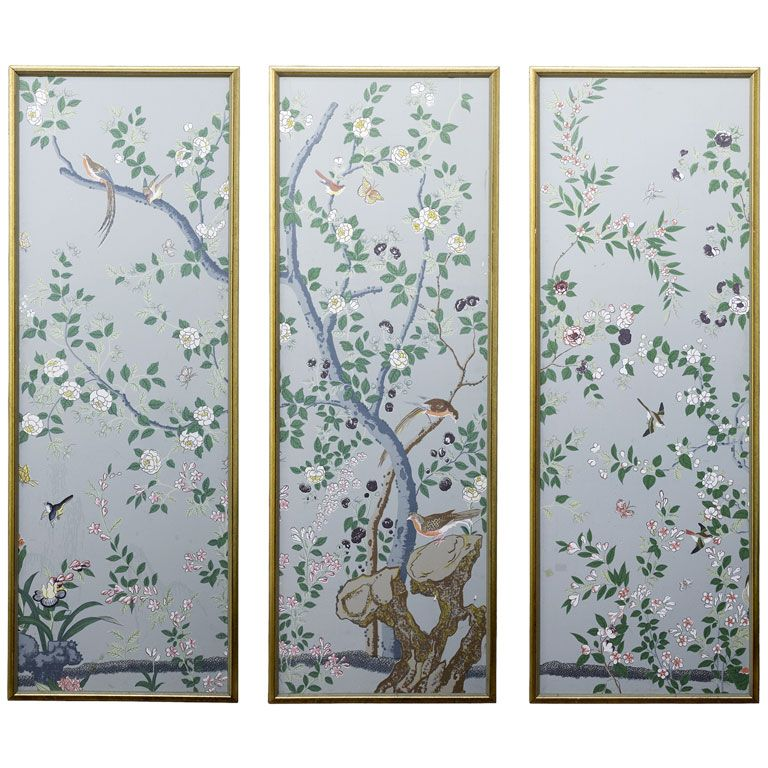 Hand painted chinoiserie wallpaper panels