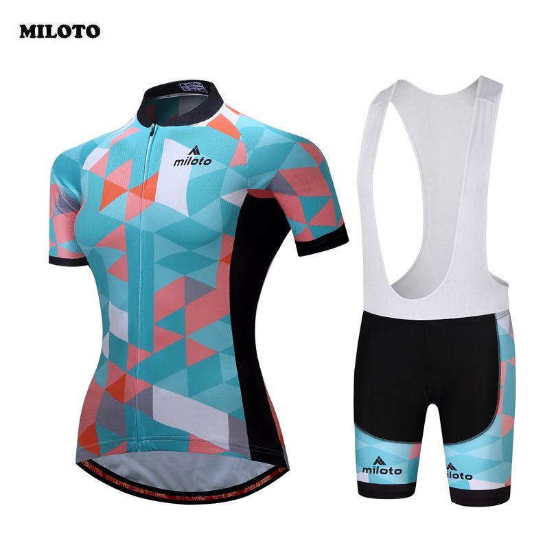 5d86b4038 Продажа Miloto 2018 Для женщин Велоспорт Ropa Ciclismo велосипед короткий  рукав Джерси нагрудник Шорты для женщин. Bicycle ...