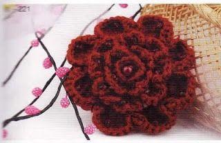 Graficos y Crochet: flor de bufanda rosa