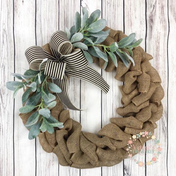 Photo of Country wreath, natural burlap with lamb ear wreath, front door wreath, everyday burlap wreath, autumn burlap wreath, spring wreath