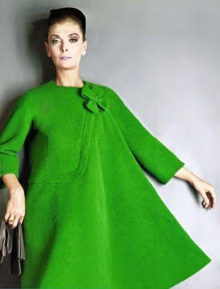 1962 - Pierre Cardin dress coat green wool vintage fashion style ...