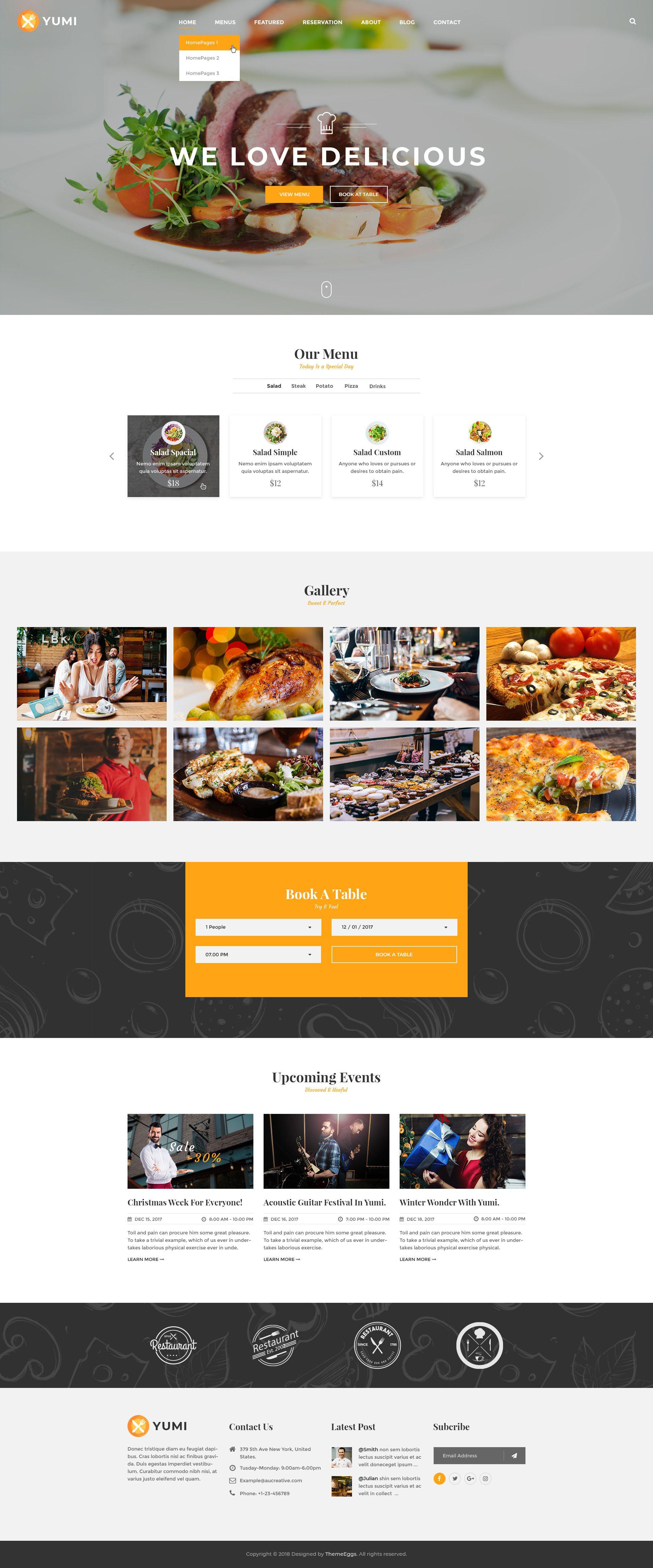 Yumi Restaurant Psd Template Restaurant Website Design Food Web Design Restaurant Web
