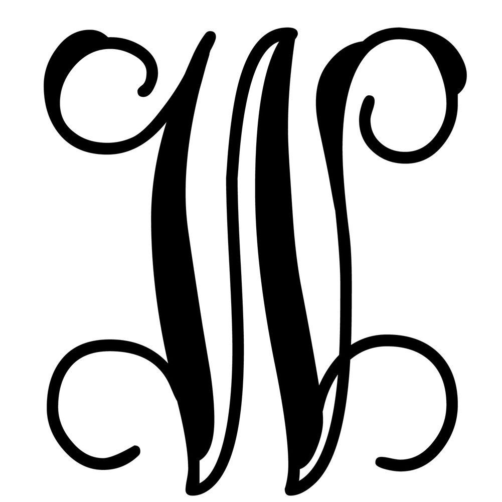 TONS OF OPTIONS Single Color Three Letter Vine Monogram w// Bow Decal Sticker