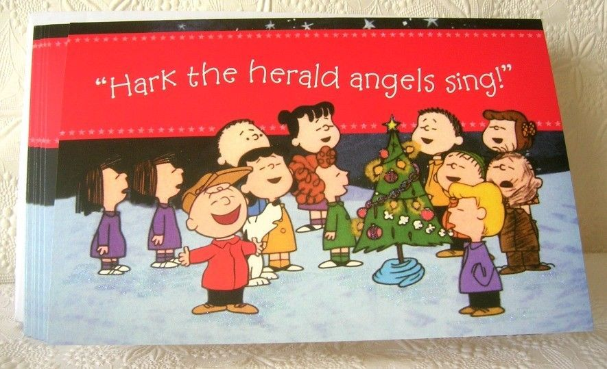 peanuts christmas cards charlie brown and the gang hark the herald angels sing