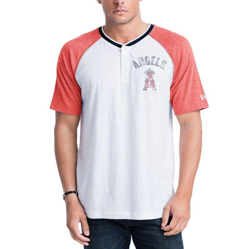 Los Angeles Angels of Anaheim New Era Slub Raglan Sleeve Henley T-Shirt - White/Heathered Red