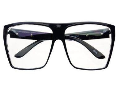 98e7477384b3e Amazon.com: Large Nerd Geek Hip Clear Lens Square Flat Top Eye ...