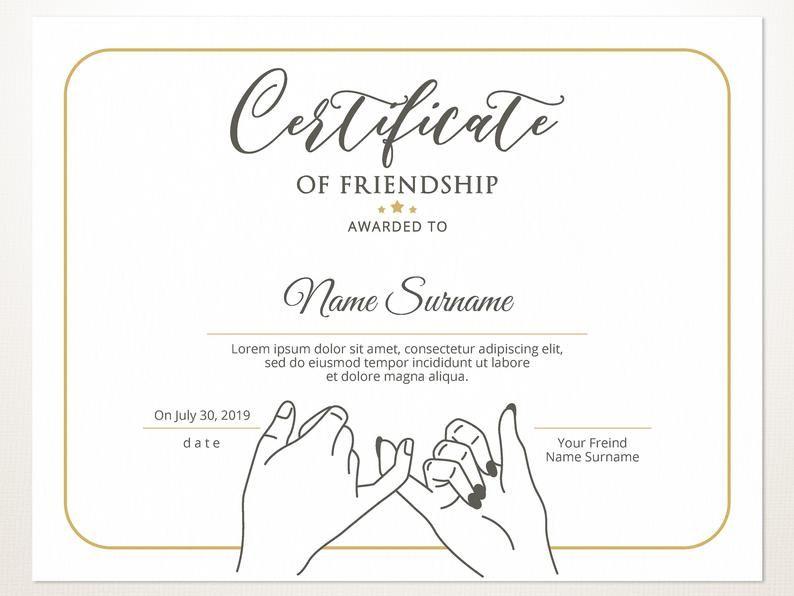 Printable Friendship Certificate Template Editable Friendship Etsy In 2021 Certificate Templates Gift Certificate Template Friendship Printables