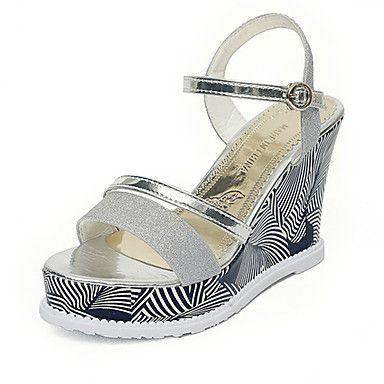Mujer Zapatos PU Verano Talón Descubierto Sandalias Tacón Cuadrado Puntera abierta Purpurina / Hebilla Blanco / Negro BLWDzxx3y