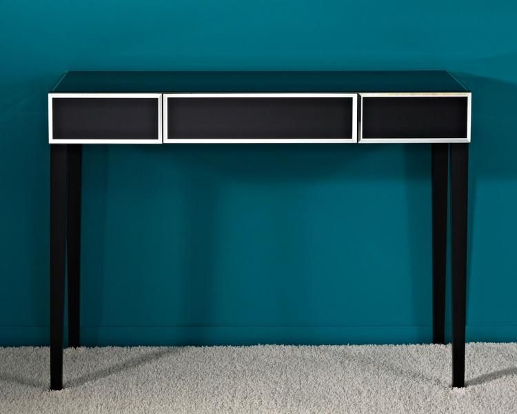 Couture Black Console Table with Mirror Bevel Detail - Mirrored