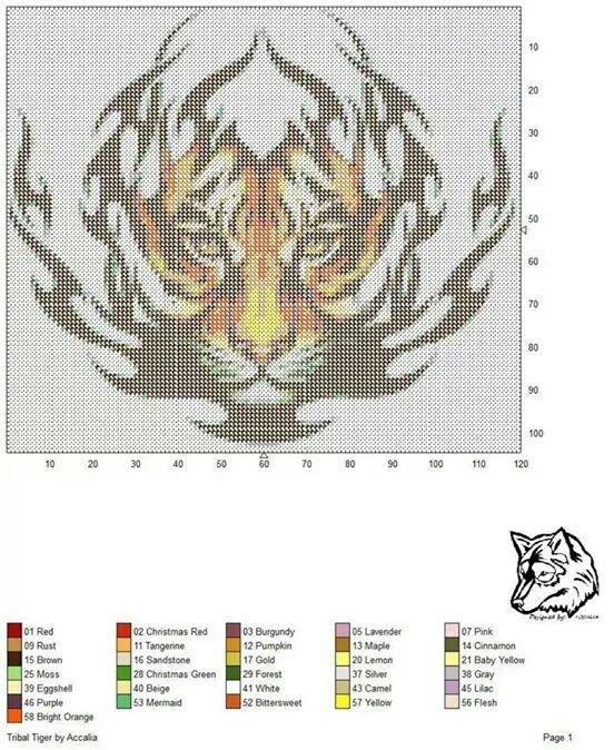 Chart Counted Cross Stitch Pattern Needlework Tiger