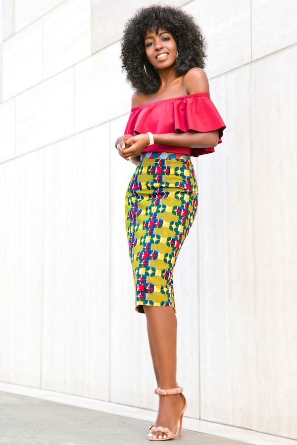 Style Pantry   Off Shoulder Frill Top   Printed Pencil Skirt ...