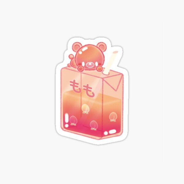 Aesthetic Peach Juice Box With Bear Sticker By Piccola Arts In 2021 Coloring Stickers Kawaii Stickers Japanese Drinks