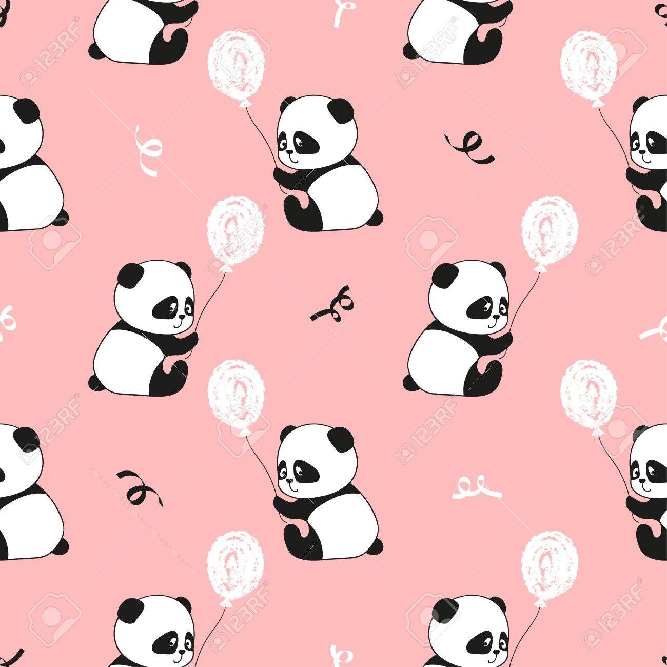Cute Panda Bears And Balloons Vector Kids Background Royalty Free Cute Girl Wallpaper Kids Background Cute Panda