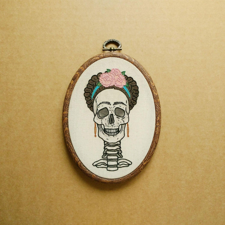 Frida Kahlo Skull Hand Embroidery Hoop Art (tattoo modern embroidery ...