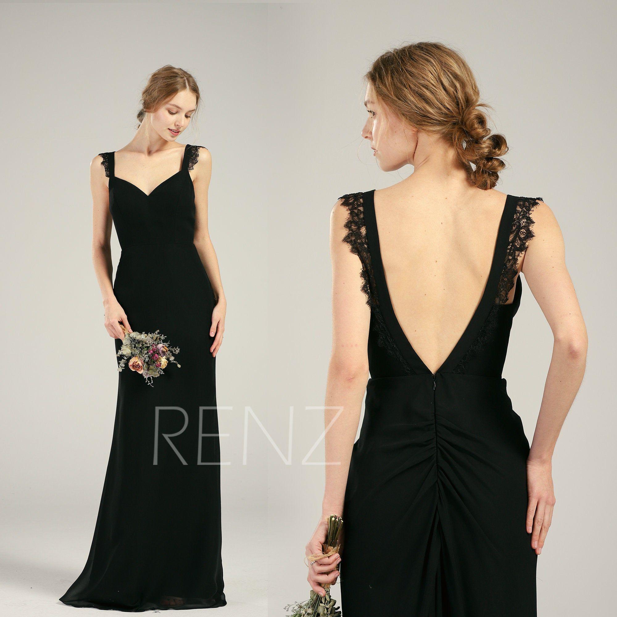 Bridesmaid Dress Black Chiffon Wedding Dress Train Deep V Back Fitted Prom Dress Lace Straps Maxi Dress In 2020 Dress Train Black Bridesmaid Dresses Prom Dresses Lace