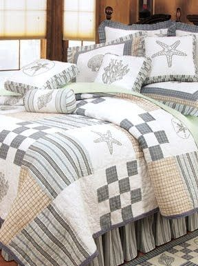 Would do this with a country theme instead of coastal, but the pattern works for me!  Pottery Barn   Coastal and Nautical Bedding