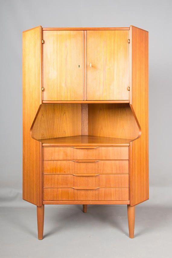Danish Mid Century Modern Teak Corner Cabinet By Johannes Sorth