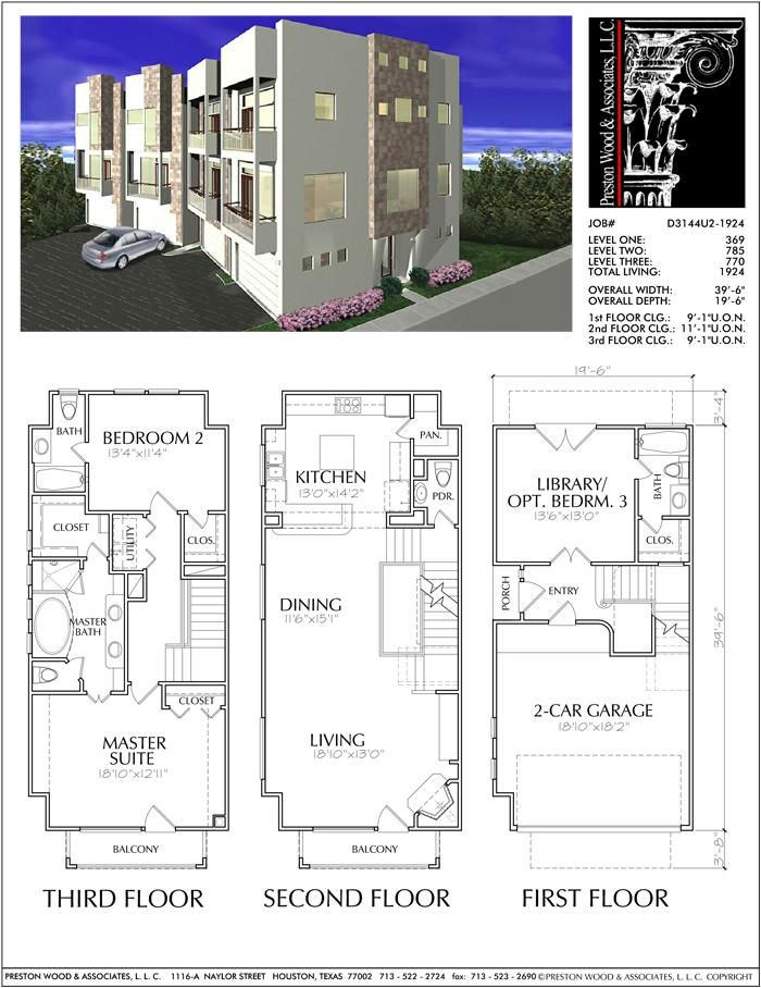 Three Story Townhouse Plan D3144 1924 Town House Floor Plan Model House Plan Architectural Floor Plans